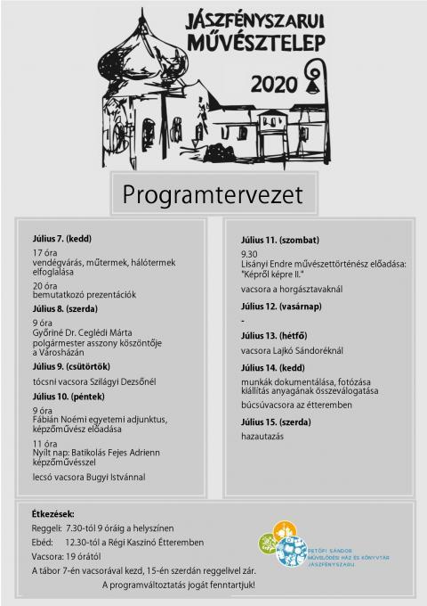 Jászfényszarui Művésztelep tervezett programja
